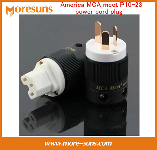 Fast Free Ship 2set/lot America MCA meet P10-23 pure red copper National Standard CD power amplifier filter power cord plug