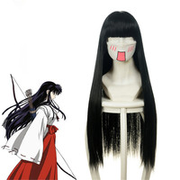 Anime InuYasha Cosplay Wig Kikyou Cosplay Wigs Heat Resistant Synthetic Halloween Party Women Witch Miko Sama Wigs
