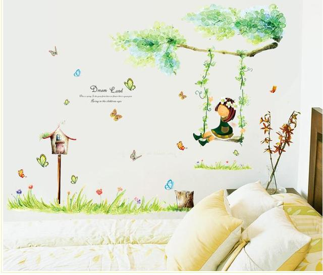 Kids Wall Stickers The Little Girl Swinging Wall Decals Popular Green Dream  Children Room Cartoon Stickers