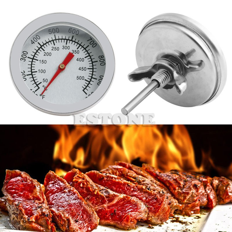 Stainless Steel Barbecue BBQ Smoker Grill 50-500Celsius Thermometer Temperature Gauge