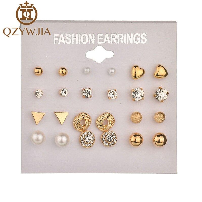 2018 Trendy Square Ball Heart Small Earrings Women Memory Gold Color Crystal Stud Earrings Set 12 Pairs Christmas Earring gold earrings for women