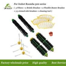 3 Hepa Filter + 2 Haren & Flexibele Beater Brush 3 Zijborstels Kits + cleaning tools voor iRobot roomba 500 Serie 530 532 535 555
