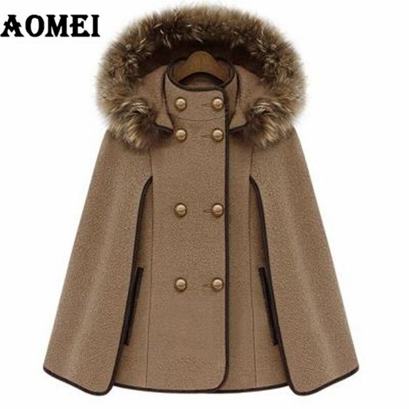 Пальто из кашемира для женщин, зима-осень, теплая шерстяная шапка со съемным меховым воротником, двойная кнопка, женская верхняя одежда, манто - Цвет: CAMEL