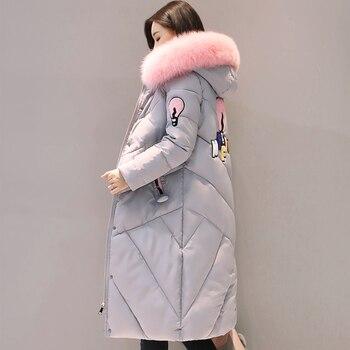 2018 высокое качество меховой воротник для женщин длинное зимнее пальто Женская Теплая стеганая куртка S Верхняя одежда парка casaco feminino inverno