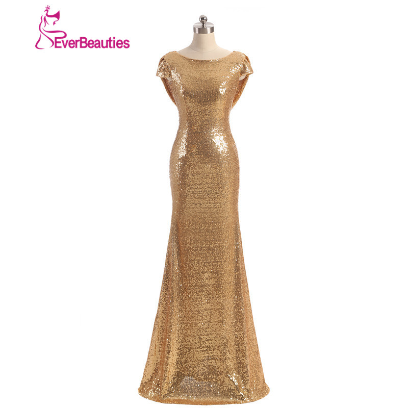 Champagne Gold Long vestido longo Sequined Short Sleeve Floor Length   Bridesmaid     Dress   2019 Prom   Dress   Wedding Party   Dress