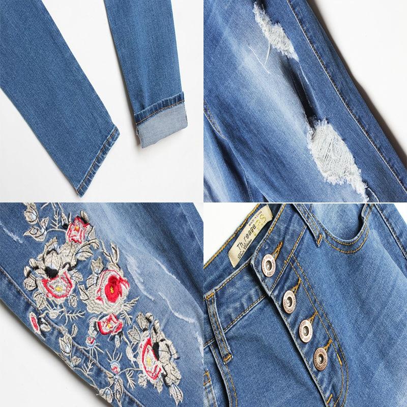 Ripped Skinny Elástico Alta Largo Floral Cintura Denim Futuro Bordado Pantalones Hembra Vaqueros Lápiz Xk023 Tiempo Mujer Jeans Azul xw0OvYqq