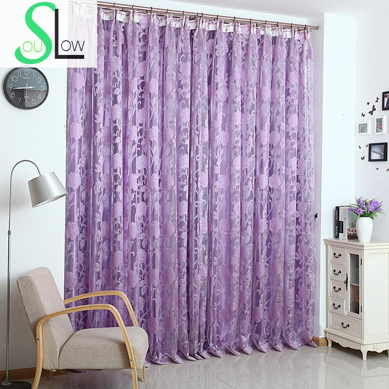 Slow Soul Purple Red Lilac Mauve Korean Jacquard Elegant Floral Curtains For Living Room Tulle Kitchen 3d Cortinas Dormitorio In From Home Garden
