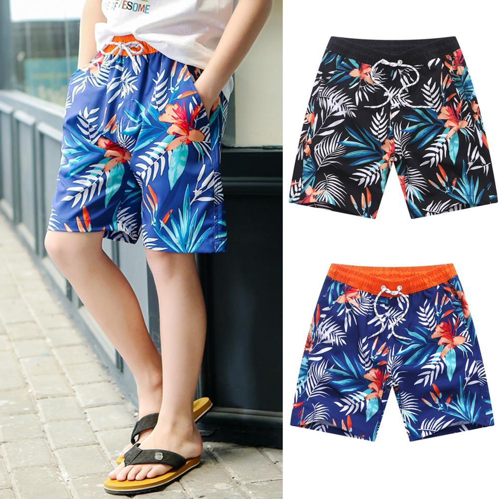 New Boys Beach Wear High Elastic Leaves Printed Swimwear Kid's   Board     Shorts   Summer Casual Shortpants Bandage Surfwear 2019