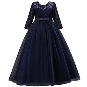 Image 3 - Long Sleeves Flower Girl Dresses For Weddings Lace First Communion Dresses Girl salted yarn Birthday Dress Party evening dress