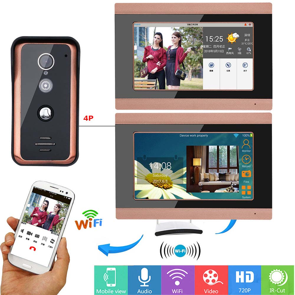 все цены на 7 inch 2 Monitors Wired Wifi Video Door Phone Doorbell Intercom Entry System with 1000TVL Wired IR-CUT Camera Night Vision