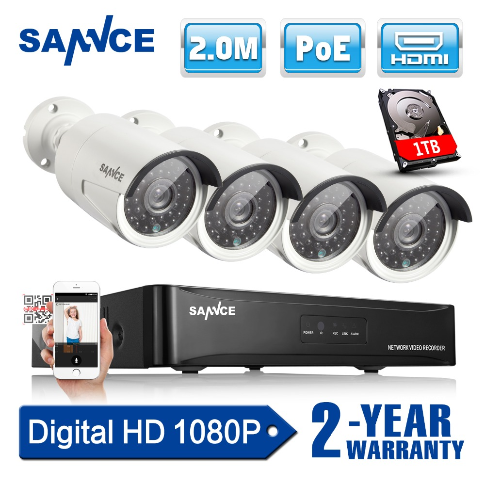 SANNCE 4CH 1080P CCTV System POE NVR 1080P Video Output 4PCS 2 0MP CCTV POE IP