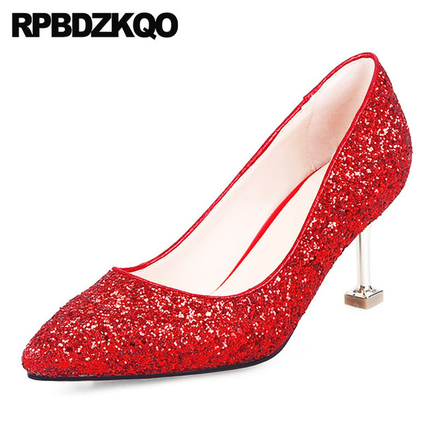 silver bling shoes evening pointed toe women 2018 red thin size 4 34 metal  heels stiletto dress high glitter 3 inch sequin pumps fd6d25262c01