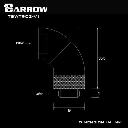 Купить с кэшбэком BARROW G1/4'' Thread 90 Degree Rotary Fitting Adapter Rotating 90 degrees water cooling Metal Adaptors TSWT902-V1
