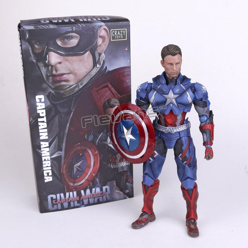 Crazy Toys Civil War Captain America PVC Action Figure Collectible Toy 10 25cmCrazy Toys Civil War Captain America PVC Action Figure Collectible Toy 10 25cm