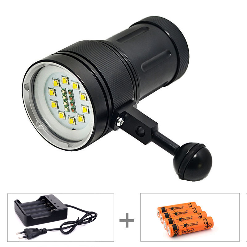 High Quality A-10 10x XM-L2+4x R+4x B 12000LM LED Photography Video Scuba Diving Flashlight Torch + 4*18650 Battery + Charger