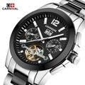 2016 Genuine Swiss Carnival Brand Men watch full steel automatic mechanical openwork watch fashion Tourbillon watch Relogio