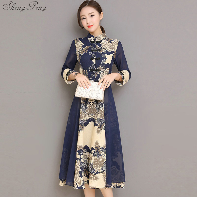 Cheongsam dress summer girls new slim traditional chinese clothes for woman elegant long qipao dress long cheongsam CC616