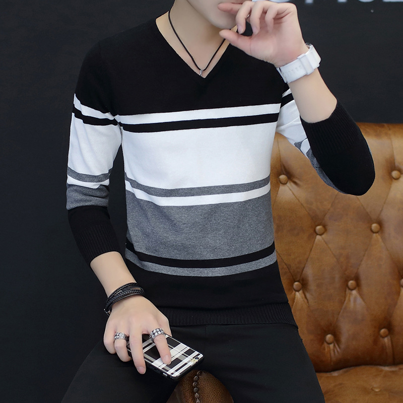 The new age season male cotton 2018 joker leisure cultivate one's morality v-neck thin striped sweater