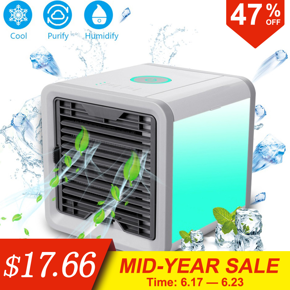 Mini USB Portable Air Conditioner Conditioning Humidifier Purifier 7 Colors Light Desktop Arctic Air Cooler Fan For Home Office(China)