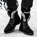 2016 New Arrival British Style Warm Plush Winter Boots Male Skull Crossbones Shape Men Ankle Boots Lace up Male Winter Shoe Blue