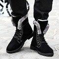 2016 Nueva Llegada Del Estilo Británico de Invierno Cálido de Felpa Botas Cráneo Masculino Forma Crossbones Hombres Botines Lace up Invierno Masculina Zapato Azul