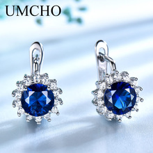 UMCHO Created Blue Nano Sapphire Unique Clip On Earrings 925 Sterling Silver For Women Elegant Statement Fine Jewelry