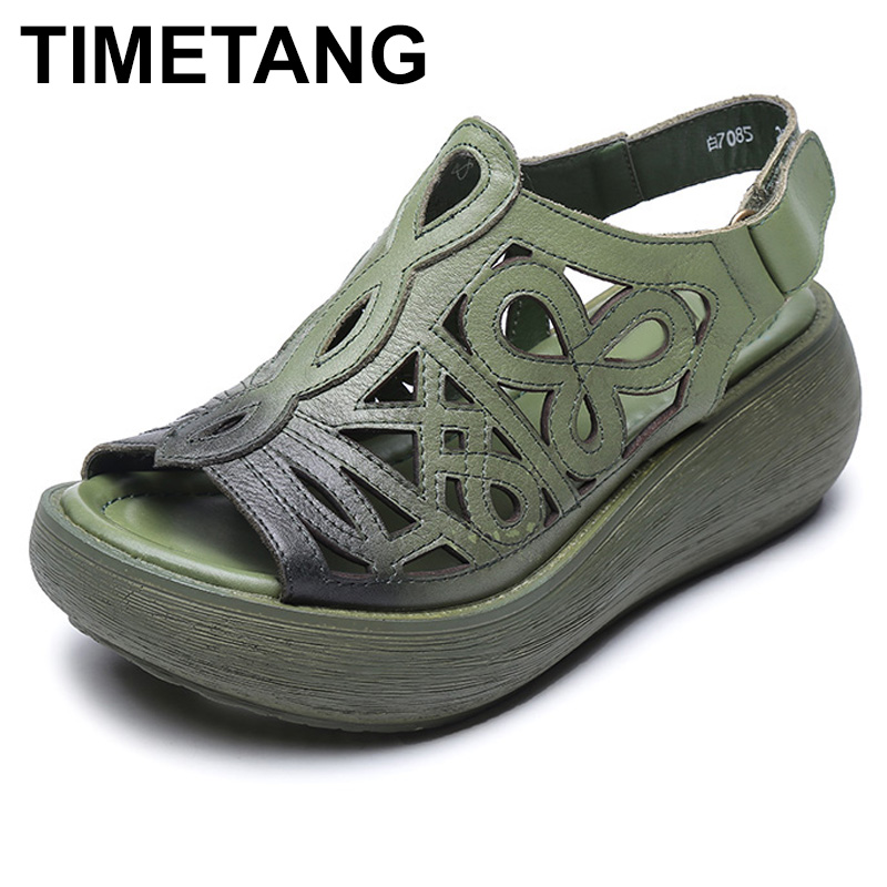 TIMETANG 2018 Spring Summer Style Genuine Leather Casual Shoes Woman Flats Super soft Women Thick bottom