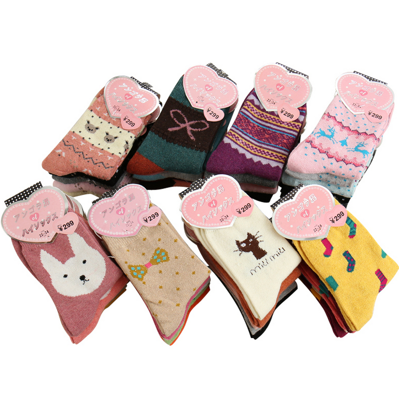 5Pairs/Lot Women Winter Thicken Warm Rabbit Wool Socks Female Thermal Snowflake Cotton Socks Woman Cartoon Animal Pattern Socks