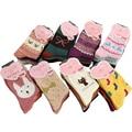 women winter thicken warm rabbit wool socks female thermal snowflake cotton socks woman cartoon animal pattern socks 5pairs/lot