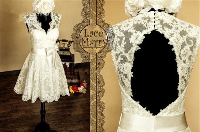 Lace short dress mini backless wedding dress open back for Short open back wedding dresses