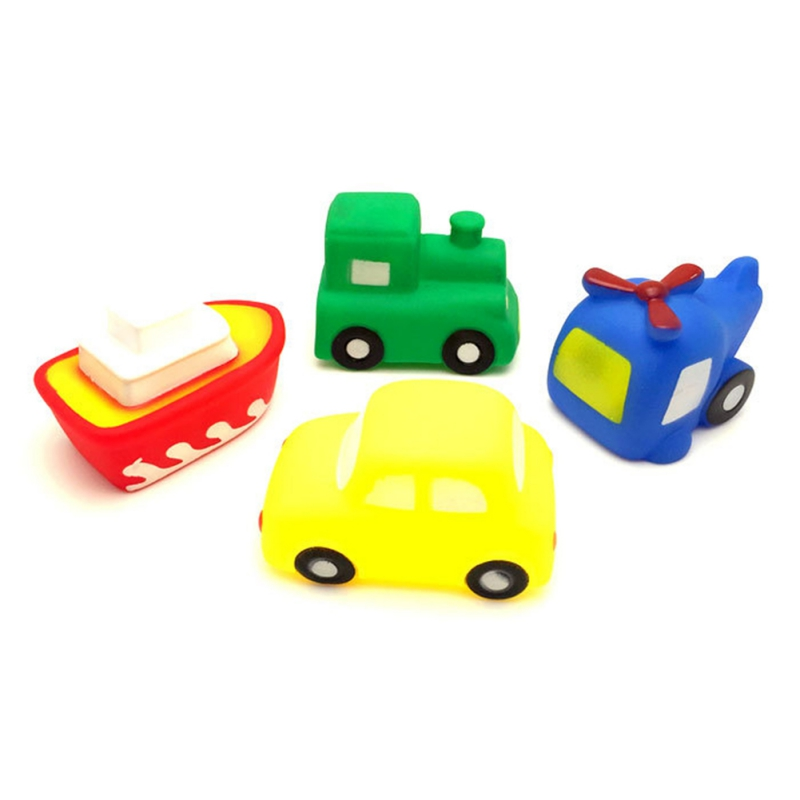 New 4pair/sets Cuet Transportation Bath Toy Kids Water Spray Colorful Car Boat Swimming Pool Baby Toys Soft Rubber Toys