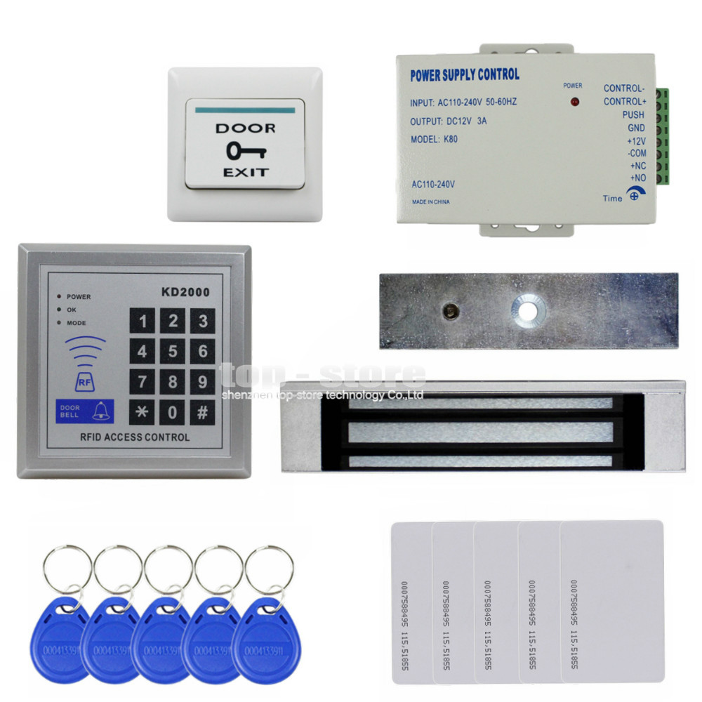 DIYSECUR Full Kit Set 125KHz RFID Keypad Access Control System Security Kit + 180kg 350lb Magnetic Lock KD2000 diysecur touch panel rfid reader password keypad door access control security system kit 180kg 350lb magnetic lock 8000 users