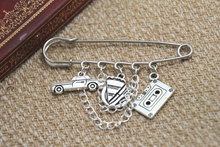 12pcs Supernatural inspired Dean Winchester themed charm with chain kilt pin brooch 50mm