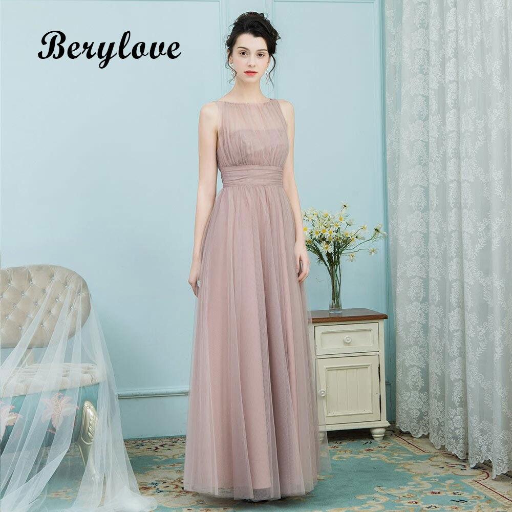 BeryLove Long Tulle Evening Dresses Simple Prom Dresses