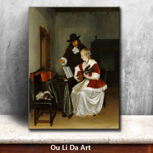 classical court figure girl learn musical instruments oil painting canvas printing printed on canvas wall art