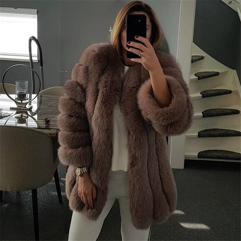 Fursarcar 2019 inverno real pele de raposa mulheres casacos natural genuíno feminino casaco de pele de raposa 75 cm longo o-pescoço casaco de pele alta qualidade