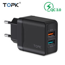 TOPK B244Q Quick Charge 3.0 28W QC 3.0 Dual USB Charger Adapter EU Travel Wall Mobile