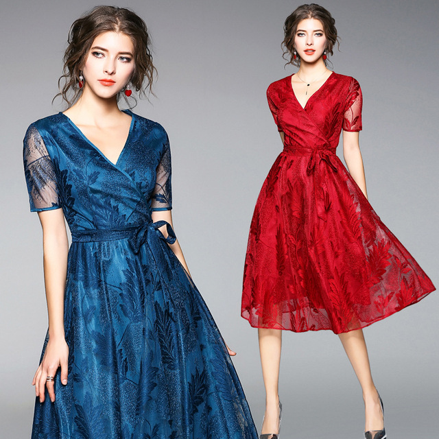 2018 Free Shipping New Europe Spring Summer Slim Lace Long Dress Women Work Wear Fashion