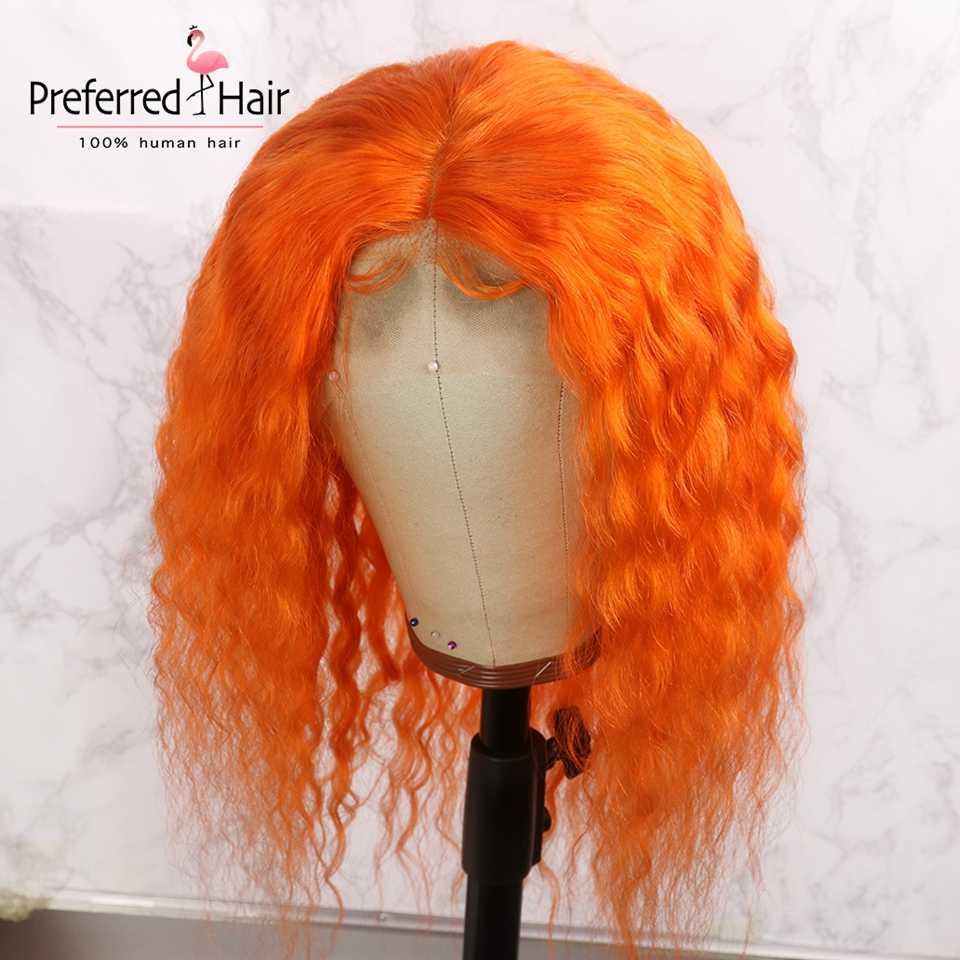 Предпочтительным розовый вьющиеся волосы человека парик предварительно сорвал с ребенком волос Remy бразильский парик Оранжевый Цвет Синтетические волосы на кружеве парики для Для женщин
