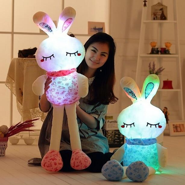 1 unid 70 cm encantador estupendo Luminious conejo de peluche de juguete con personal conejo Gleamy muñeca colorida intermitente almohada regalo de san valentín
