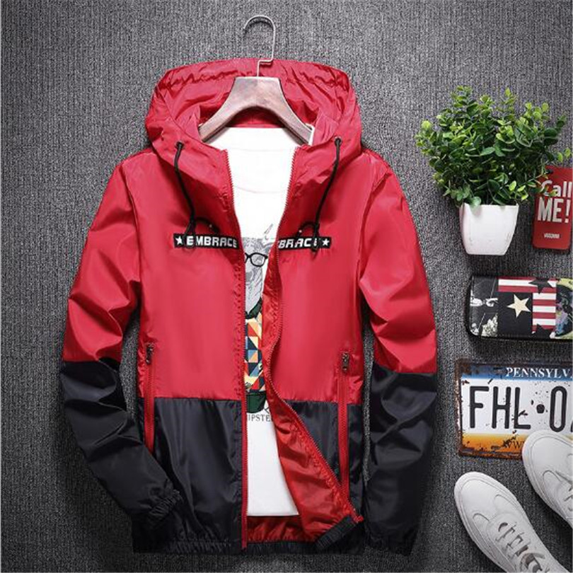 New Spring Autumn Bomber Hooded Jacket Men Casual Slim Patchwork Windbreaker Jacket Male Outwear Zipper Thin Coat Brand Clothing #3