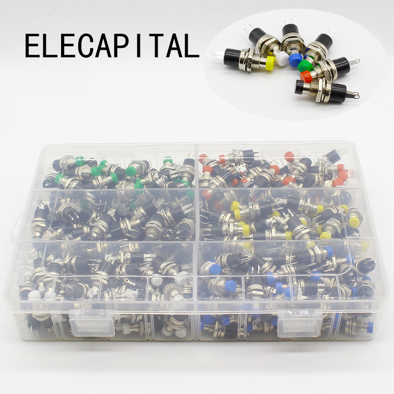 300pcs 7mm Momentary Push button Switch Press the reset switch Momentary On Off Push Button Micro Switch Normally Open NO