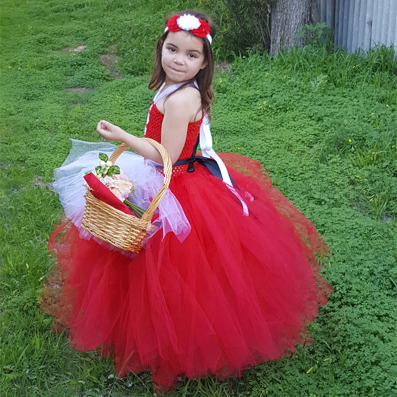 Little Red Riding Hood Tutu Dress Girls Cosplay Halloween Christmas Costumes Child Kids Princess Party Performance Tulle Dresses