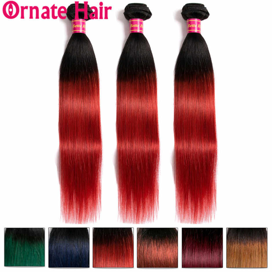 Ombre Straight Hair Bundle 100% Human Hair Extension Brazilian Hair Weave Bundle Pre Colore1b/99J/27/Red/Blue Ornate Hair Bundle