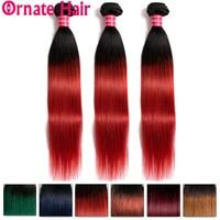 Ombre Straight Hair Bundle 100% Human Hair Extension Brazilian Hair Weave Bundle Pre Colore1b/99J/27/Red/Blue Ornate Hair Bundle
