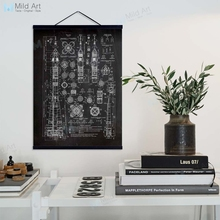 Vintage Retro negro blanco cohete patente Blueprint de madera enmarcada percha Poster arte de la pared imagen decoración del hogar lienzo de pintura Scroll