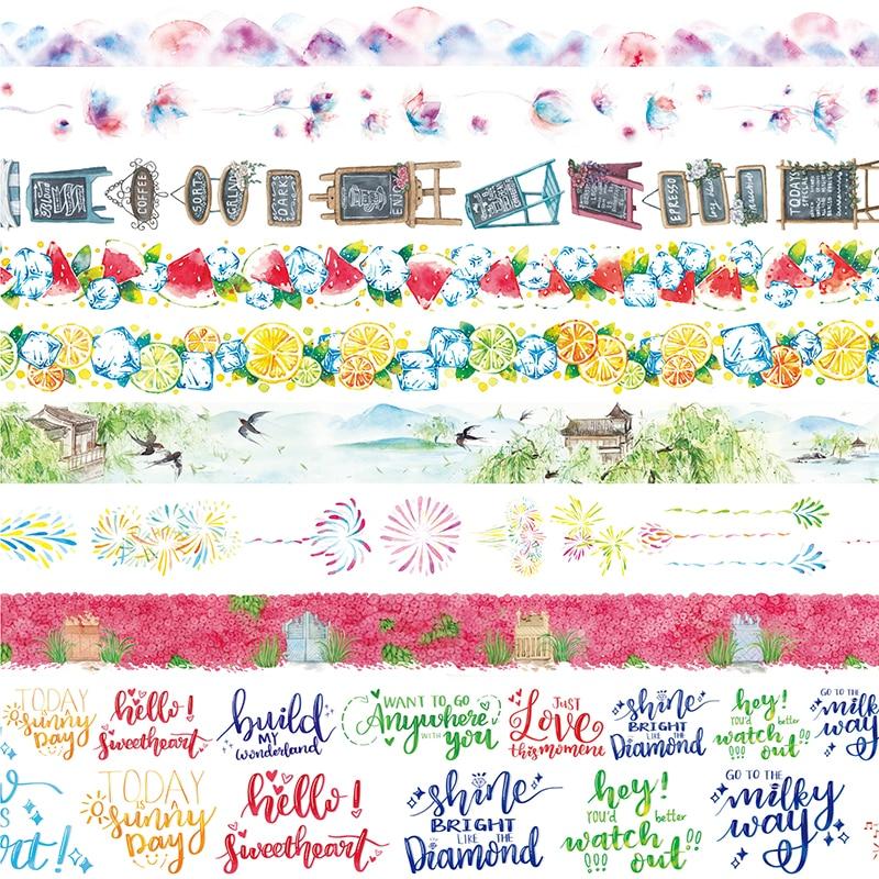 10Designs Flowers/Fruits/Letter/Fireworks/Flag Pattern Japanese Washi Decorative Adhesive DIY Masking Paper Tape Sticker Label