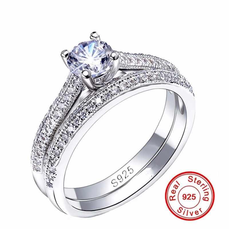 Choucong נשים חתונה טבעת סט 925 סטרלינג כסף AAAAA זירקון אבן טבעות נקבה המפלגה תכשיטי מתנה 3 צבע כסף & עלה & זהב