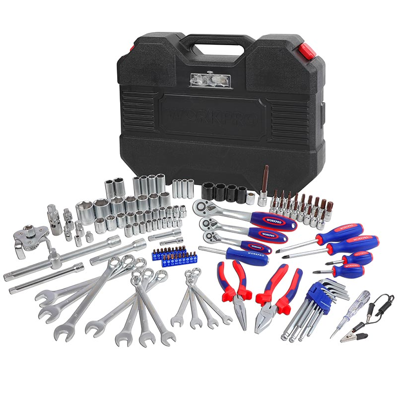 Hot DealsWORKPRO Socket-Set Wrench Mechanics-Tool-Set Ratchet Spanner 123PC New-Design