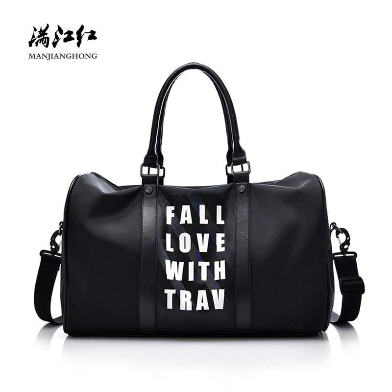 Waterproof Nylon Shoulder Travel Bags Women Patchwork Leather Men Travel Duffle Bags Printing Male Messenger Travel Bags 15-2327